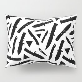 Survival Knives Pattern - Black and White Pillow Sham