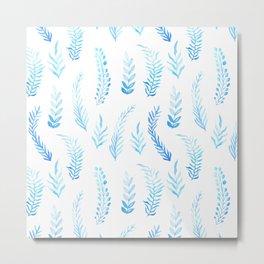 Trendy modern aqua blue watercolor floral leaves pattern Metal Print