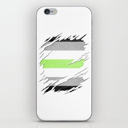 Agender Pride Flag Ripped Reveal iPhone Skin