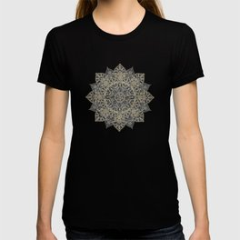 Elegant poinsettia flower and snowflakes mandala art T-shirt