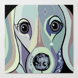 Dachshund in Denim Colors Canvas Print