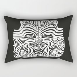 Maori Moko | Tribal Tattoo | New Zealand | Black and White | Rectangular Pillow