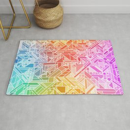 BRIGHT VIBRANT GRADIENT GEOMETRIC SHAPES RAINBOW PRINT TILED MOSAIC TIE DYE COLORFUL Rug