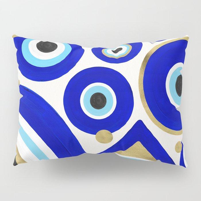 Evil Eye Charms on White Pillow Sham