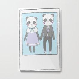 Pandas in love Metal Print