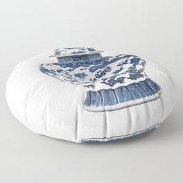 Blue & White Chinoiserie Porcelain Ginger Jar with Birds & Flowers Floor Pillow