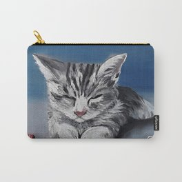Grumpy cupid, adorable kitty, oil painting by Luna Smith, LuArt Gallery Carry-All Pouch