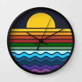 Geometric Rainbow Nature Wall Clock