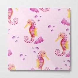 Watercolor seahorse, under the sea nursery Metal Print