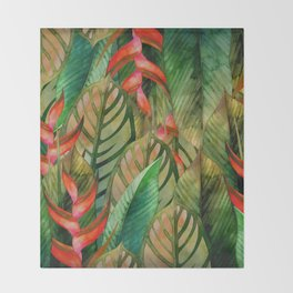 Painted Jungle Leaves 2 Throw Blanket