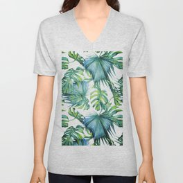 Blue Jungle Leaves, Monstera, Palm #society6 Unisex V-Neck
