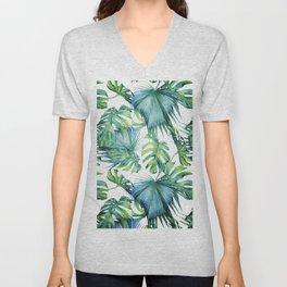 Blue Jungle Leaves, Monstera, Palm #society6 Unisex V-Neck