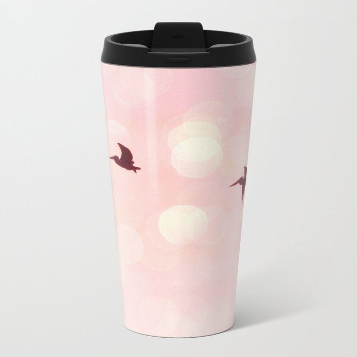 Pelicans Flying Metal Travel Mug