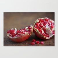 pomegranate Canvas Prints featuring pomegranate by Life Through the Lens