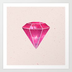 Trendy Pink Diamond Girly Purple Nebula Galaxy Art Print
