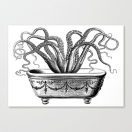 Tentacles in the Tub | Octopus | Black and White Canvas Print