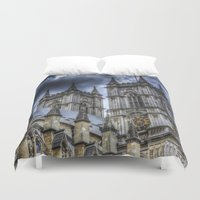 downton abbey Duvet Covers featuring Westminster Abbey London by David Pyatt