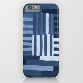 Painted Color Block Grid in Blue iPhone Case