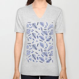 Christmas tree branches and berries - blue Unisex V-Neck