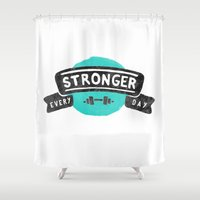 crossfit Shower Curtains featuring Stronger Every Day (dumbbell) by Lionheart Art