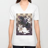 hetalia V-neck T-shirts featuring The Game of Checkmate by jali-jali