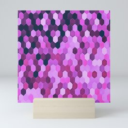 Honeycomb Pattern In Purples and Pinks Mini Art Print