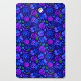 Watercolor Floral Garden in Electric Blue Bonnet Cutting Board