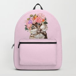 Baby Squirrel with Flowers Crown in Pink Backpack