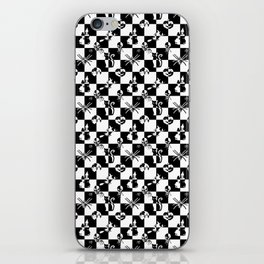 Black and White Vintage Halloween Disco Check iPhone Skin