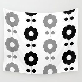 Floral Seamless Pattern with Black and White Flowers Wall Tapestry