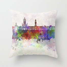 Bradford skyline in watercolor background Throw Pillow