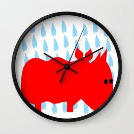 RED RHINO in rain Wall Clock