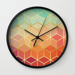 Colorful squares with gold Wall Clock