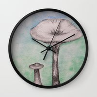 mushrooms Wall Clocks featuring mushrooms by Diane Nicholson