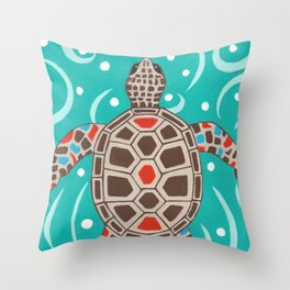 Sea Turtle Swim Throw Pillow