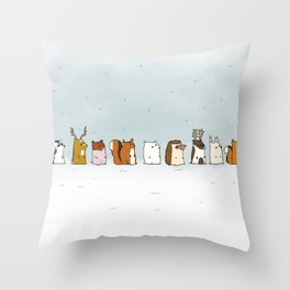 Winter forest animals Throw Pillow