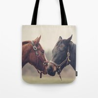 horses Tote Bags featuring Horses  by Laura Ruth