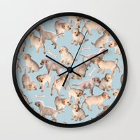puppies Wall Clocks featuring Too Many Puppies by micklyn