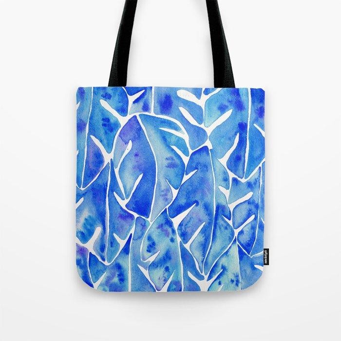 Split Leaf Philodendron – Blue Tote Bag