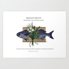 Seafood Series : Paperbark Blue Cod Fish Art Print