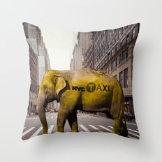 Elephant Taxi NYC Throw Pillow