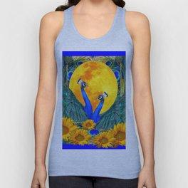 BLUE PEACOCKS MOON & FLOWERS FANTASY ART Unisex Tank Top
