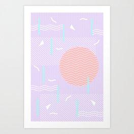 Memphis Summer Lavender Waves Art Print