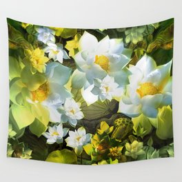 """""""White flowers forest"""" Wall Tapestry"""