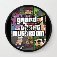 grand theft auto Wall Clocks featuring Grand Theft Mushroom by Ben Clark