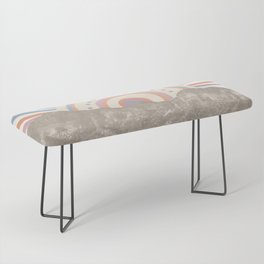 Summerlin Mountain Up // Abstract Vintage Mountains Summer Sun Surf Beach Vibe Drawing Happy Wall Ha Bench