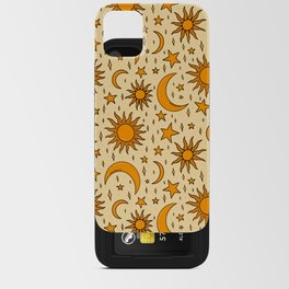 Vintage Sun and Star Print iPhone Card Case