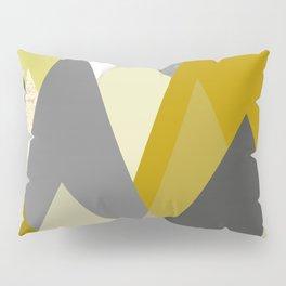 Mountains Mustard yellow Gray Neutral Geometric Pillow Sham
