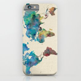 World Map Watercolor Linen Blue Red Yellow Green iPhone Case