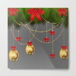 RED RIBBONS & GOLD  CHRISTMAS ORNAMENTS ART Metal Print